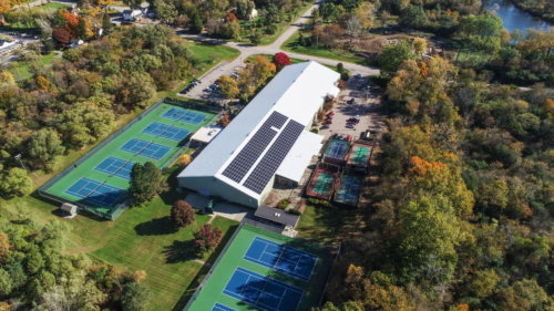 Huron Valley Tennis club with solar panels