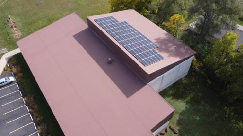 Aerial Shot Solar Panels on Roof