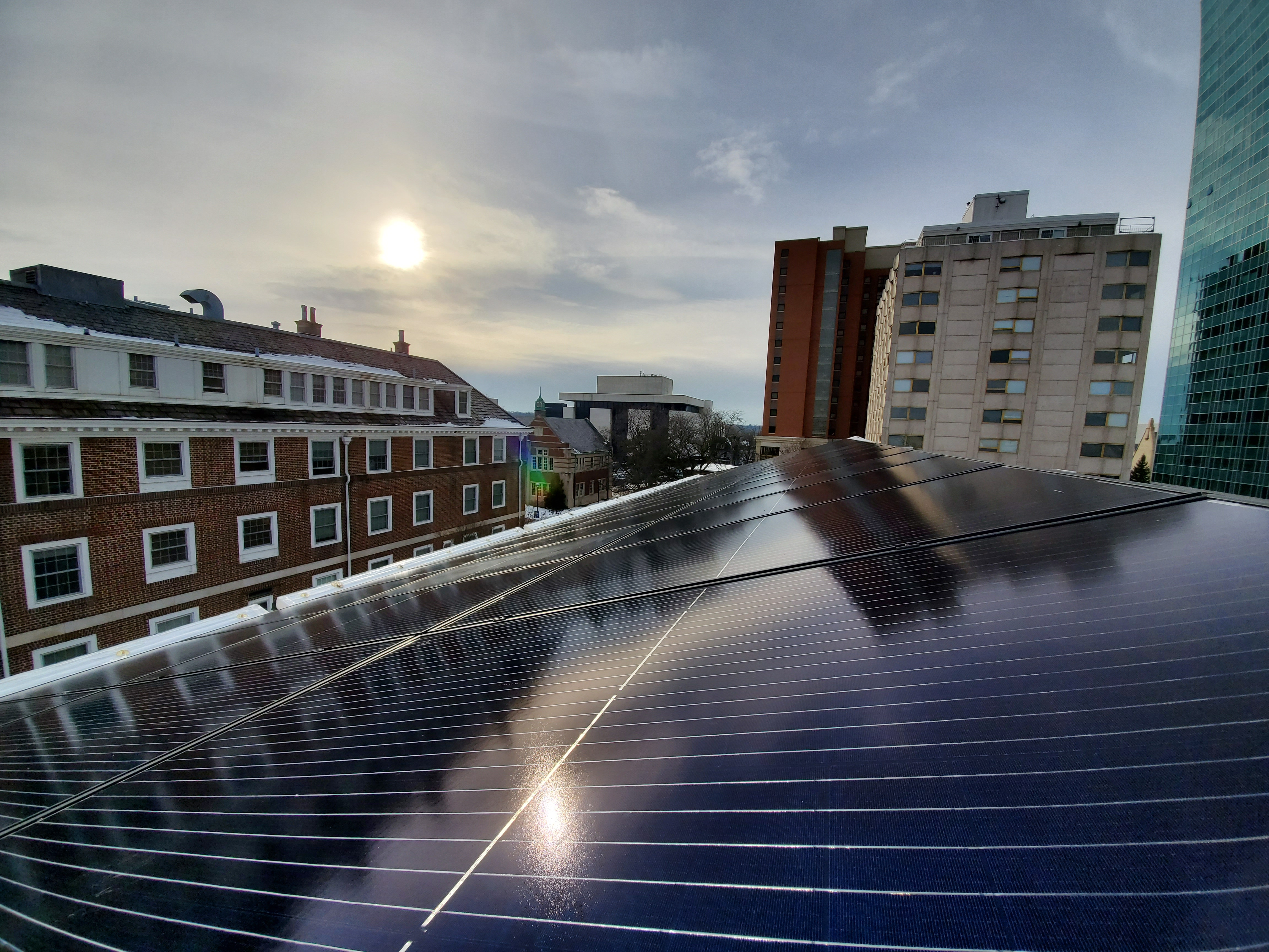 Close up of solar panels on roof