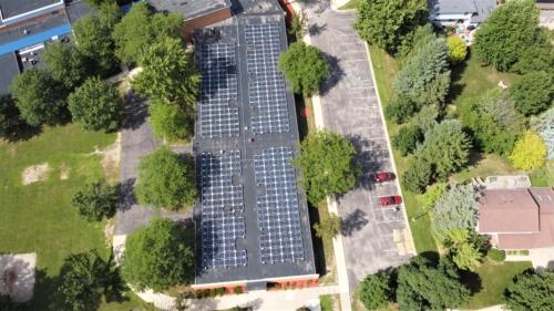 Solar panels on top of school
